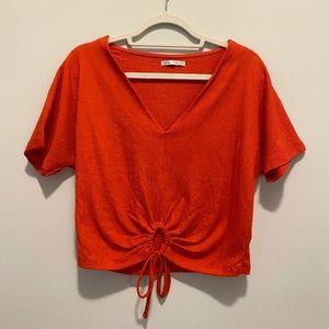 Burnt Orange Zara Blouse- Size Small